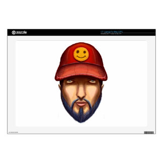 Bearded Man With a Red Cap Yellow Smiley Laptop Skins
