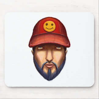 Bearded Man With a Red Cap Yellow Smiley Mouse Pad