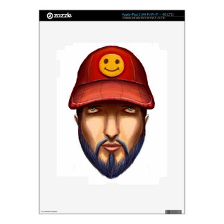 Bearded Man With a Red Cap Yellow Smiley Skin For iPad 3