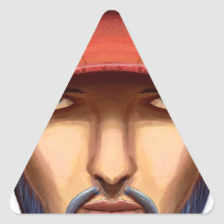 Bearded Man With a Red Cap Yellow Smiley Triangle Sticker