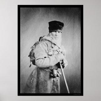 Bearded Russian Man Wearing a Backpack 1880 Print