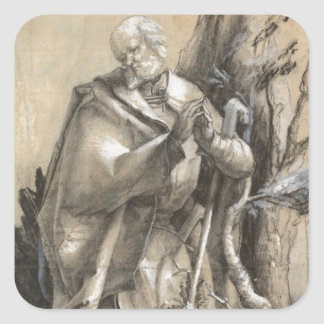 Bearded Saint in a Forest by Albrecht Durer Square Sticker