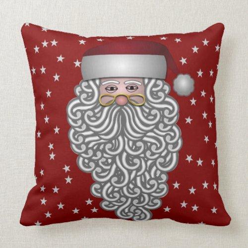 Bearded Santa and Stars Pillow