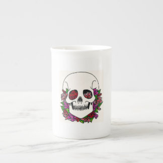 Bearded Skull with Peach, Pink & Red Roses Tea Cup