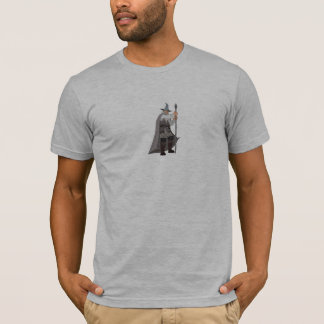 Bearded Wizard Dressed in Gray T-Shirt