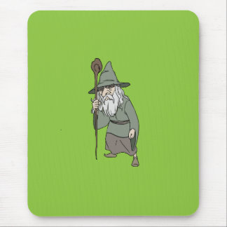 Bearded Wizard with Wizard's Staff Mouse Pad