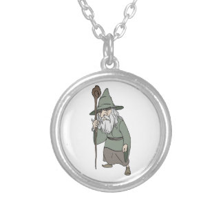 Bearded Wizard with Wizard's Staff Personalized Necklace