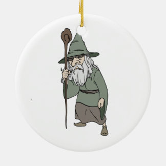 Bearded Wizard with Wizard's Staff Christmas Ornament
