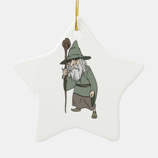 Bearded Wizard with Wizard's Staff Ornament