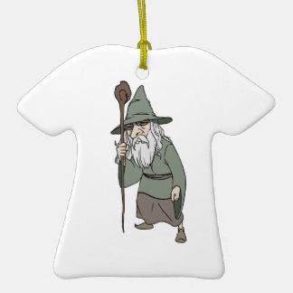 Bearded Wizard with Wizard's Staff Ornaments