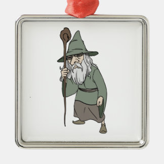 Bearded Wizard with Wizard's Staff Christmas Tree Ornaments