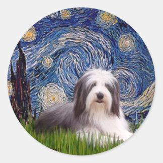 Beardie 2 - Starry Night Classic Round Sticker