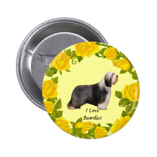 Beardie and Yellow Roses Pinback Button