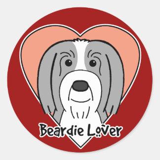 Beardie Lover Round Stickers