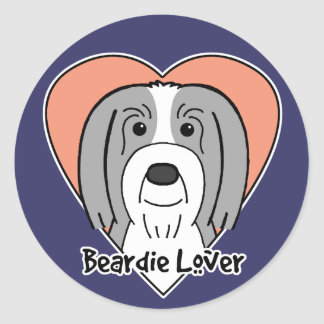 Beardie Lover Round Sticker