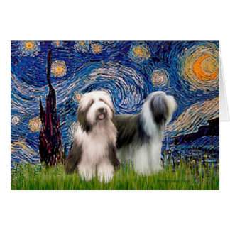 Beardie Pair 1 - Starry Night - Customized Card