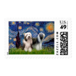 Beardie Pair 1 - Starry Night Postage Stamp