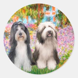 Beardie Pair 2 - Garden Classic Round Sticker