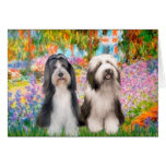 Beardie Pair 2 - Garden Greeting Cards