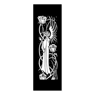 Beardsley Angel Floral Book Mark Double-Sided Mini Business Cards (Pack Of 20)