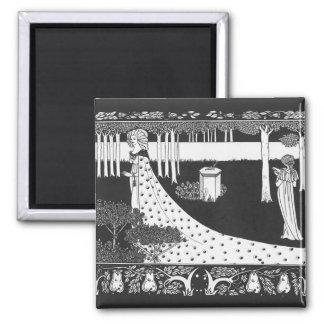 Beardsley Art Nouveau Black and White Woman 2 Inch Square Magnet