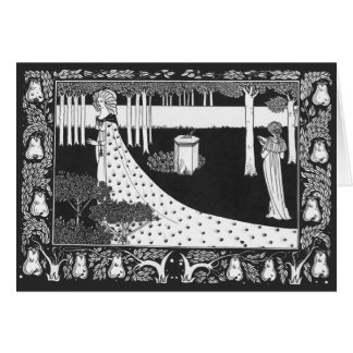 Beardsley Art Nouveau Black and White Woman Card