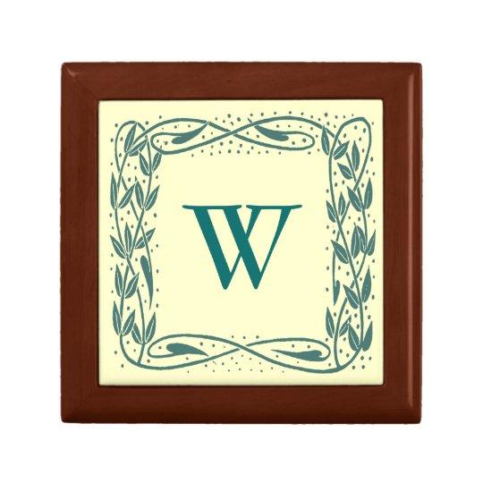 Beardsley Border Elegant Monogram Trinket Box