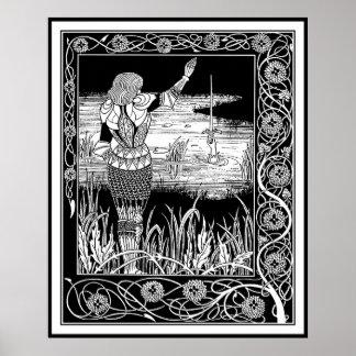 Beardsley - Excalibur - rey Arturo Art Poster