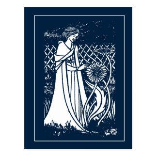 Beardsley Lady & Sunflowers Post Card