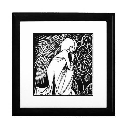 Beardsley Nouveau Angel Ceramic Tile Box giftbox