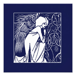 Beardsley Nouveau Angel Holiday Cards Personalized Invite