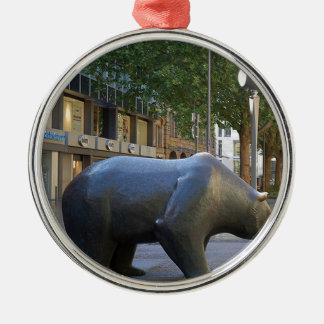Bearish Round Metal Christmas Ornament