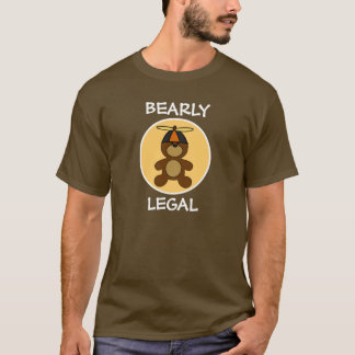 Bearly Legal Teddy Bear Cream Circle T-Shirt