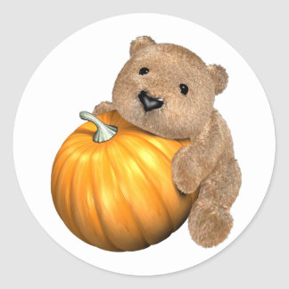 BearPumpkin Classic Round Sticker