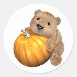 BearPumpkin Etiquetas Redondas