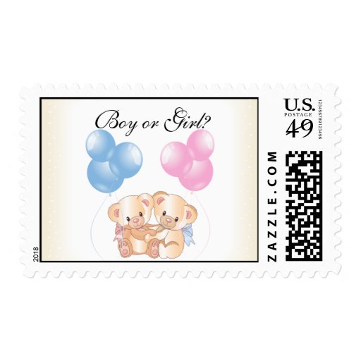 Bears and Balloons Baby Gender Reveal Party Postag Postage Stamp