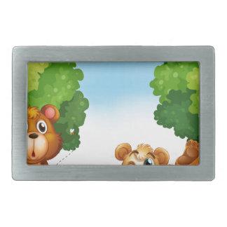 Bears and forest rectangular belt buckle
