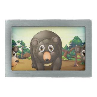 Bears and jungle rectangular belt buckle