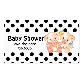 Bears and Polka Dots Baby Shower Save the Date Double-Sided Standard Business Cards (Pack Of 100)