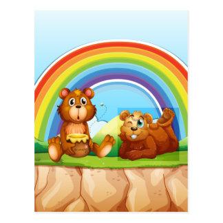 Bears and rainbow postcard