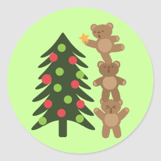 Bears at Christmas Classic Round Sticker