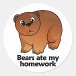 Bears ate my homework classic round sticker