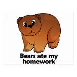 Bears ate my homework postcard
