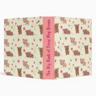 Bears Bees and Strawberries 3 Ring Binder