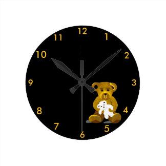 Bears Clock 4 Kids Bedroom on Gold/White/Black