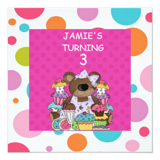 Bears & CUPCAKES GIRLS  Birthday Party InvitATION