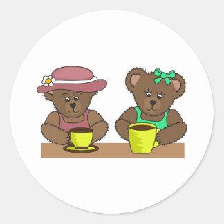 BEARS DRINKING COFFEE ROUND STICKER