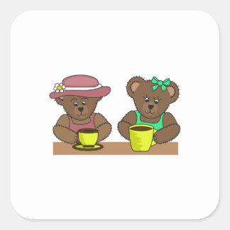 BEARS DRINKING COFFEE SQUARE STICKER