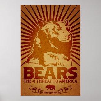 bears godless killing machines humor funny poster print