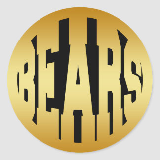 BEARS - GOLD TEXT CLASSIC ROUND STICKER